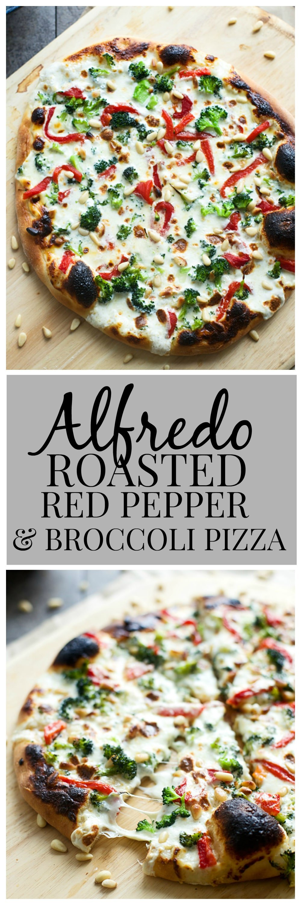 Alfredo, Roasted Red Pepper and Broccoli Pizza
