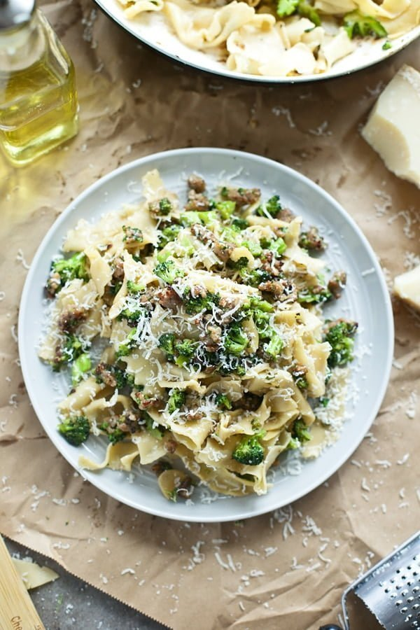 Scrap Pasta with Broccoli, Italian Sausage and Parmesan