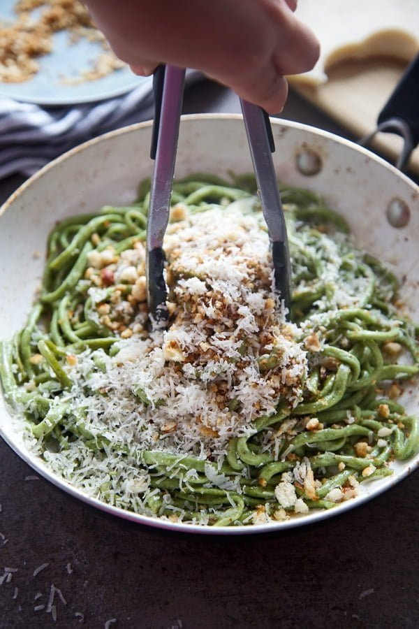 Spinach Bucatini with Brown Butter, Hazelnuts and Breadcrumbs