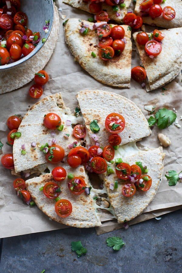 White Bean & Tuna Quesadillas with Cherry Tomato Pico
