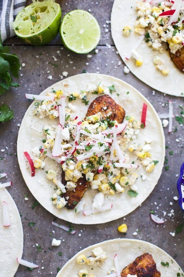 Blackened Tilapia Tacos with Corn Elotes