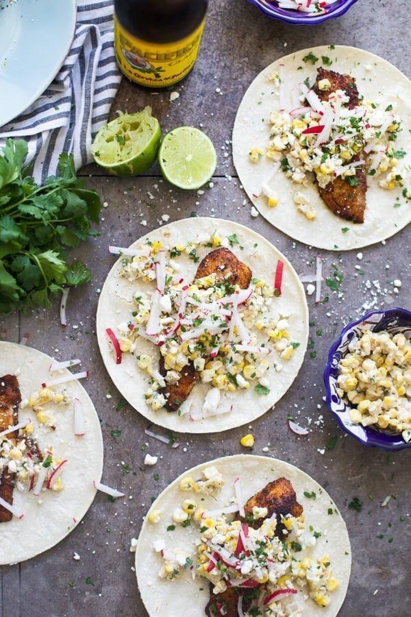 Blackened Tilapia Tacos with Corn Elotes