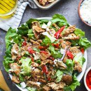 Chicken Gyro Salad with Crispy Pita