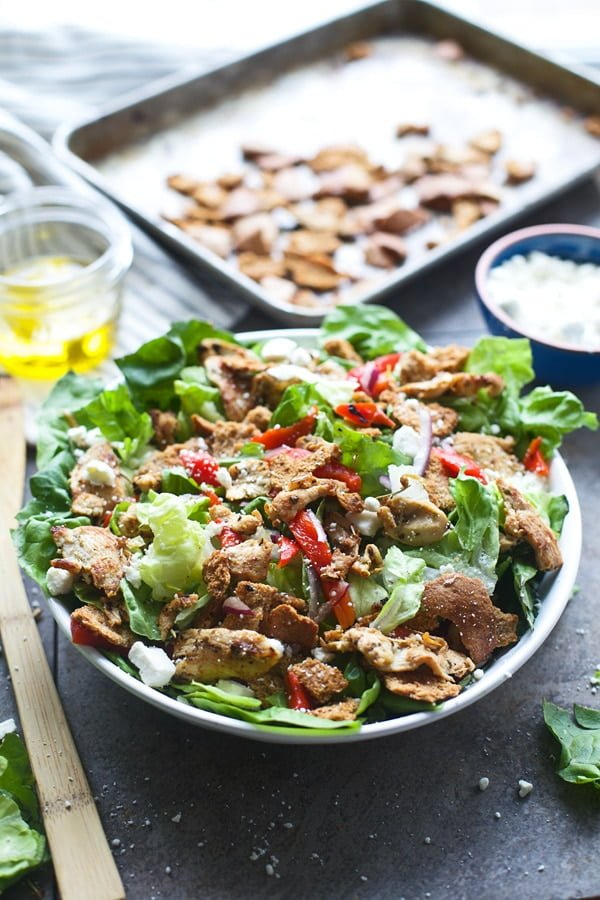 Chicken Gyro Salad with Crispy Pita