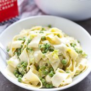Creamy Pappardelle with Leeks and Peas