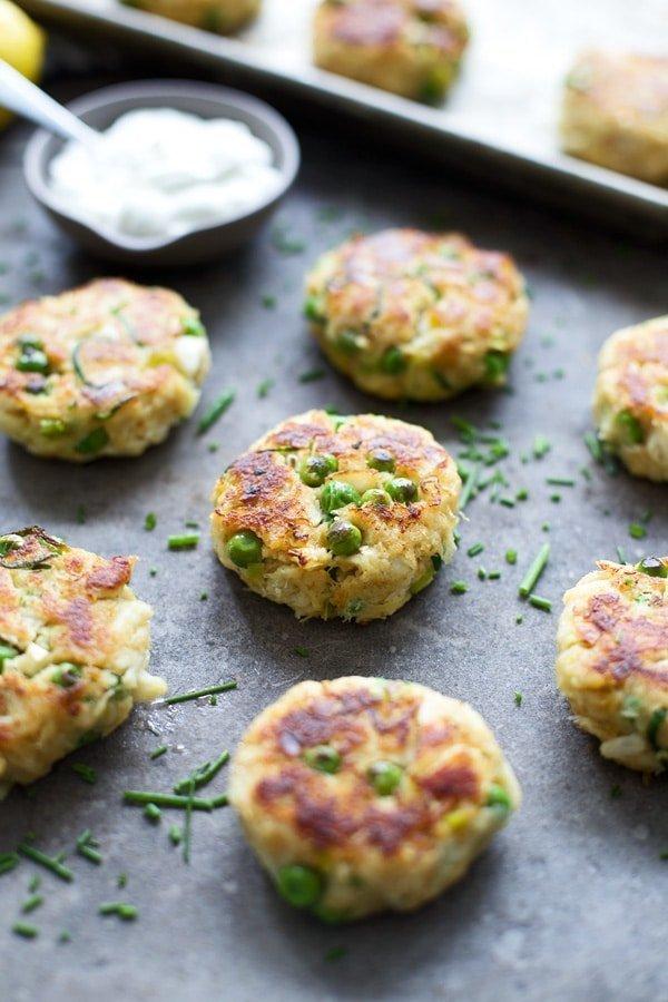 Spring Veggie Crab Cakes with Lemon Yogurt Sauce