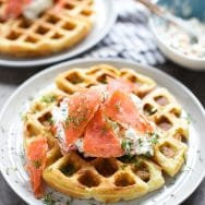 Chive Cheddar Waffles with Lox and Veggie Cream Cheese