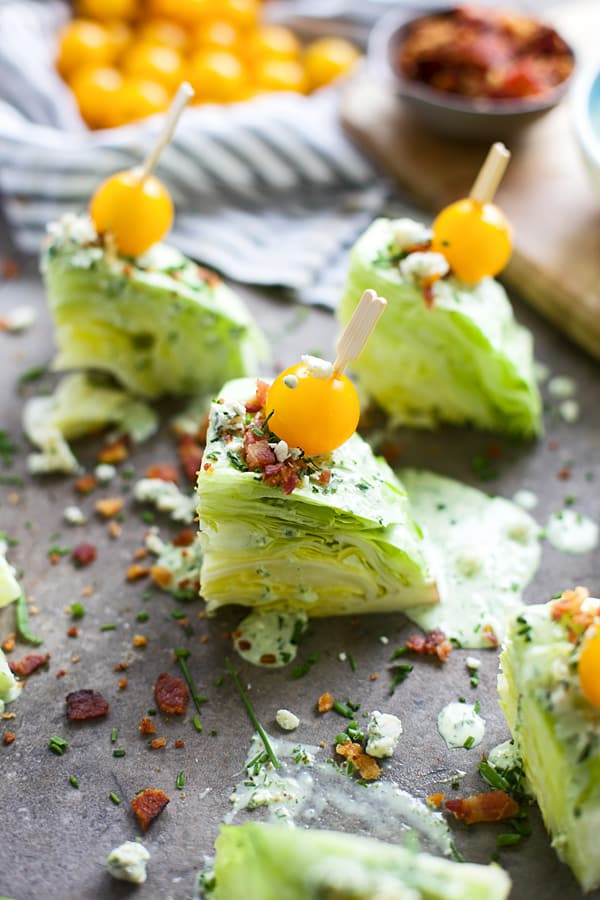 Mini Wedge Salads with Green Goddess Blue Cheese Dressing