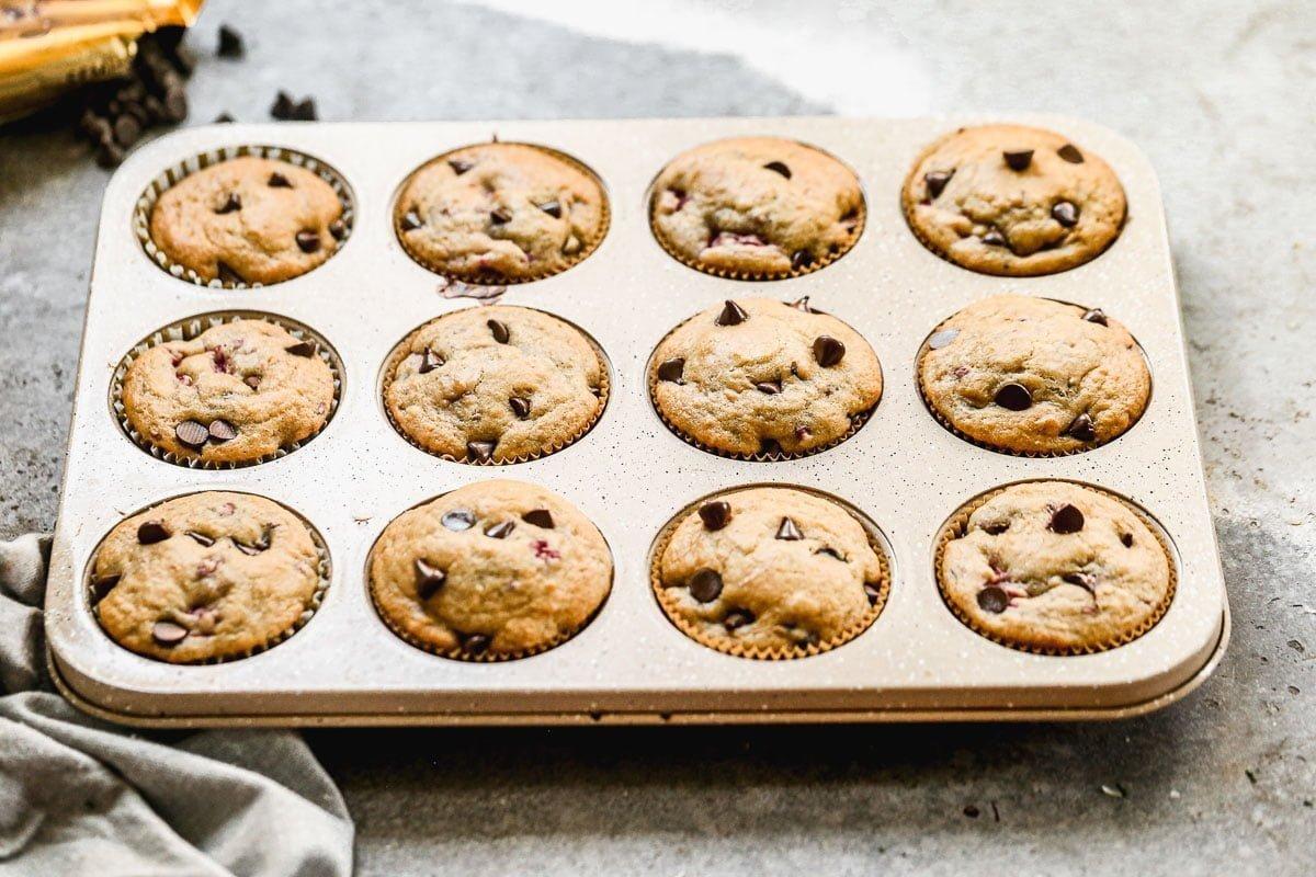 Chocolate Raspberry Muffins in the muffin tin.