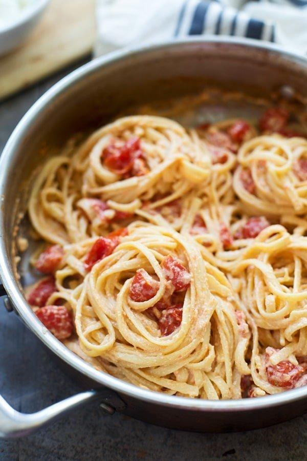 Five Ingredient Cherry Tomato & Ricotta Linguini