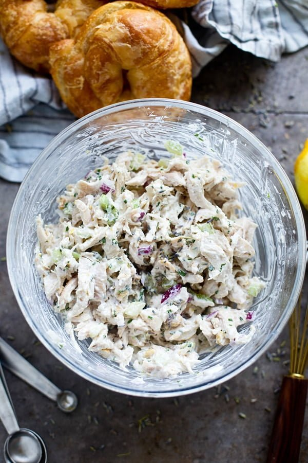 Shredded chicken, red onion, celery, cashews, chives and lavender lemon mayonnaise.