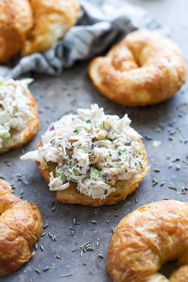 Healthy Lavender Chicken Salad Sandwich on Croissant