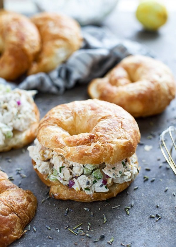 Healthy Lavender and Lemon Chicken Salad on Croissants