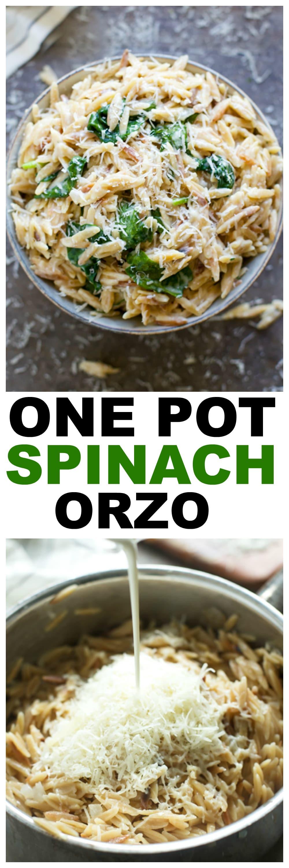 Creamy One Pot Spinach Orzo