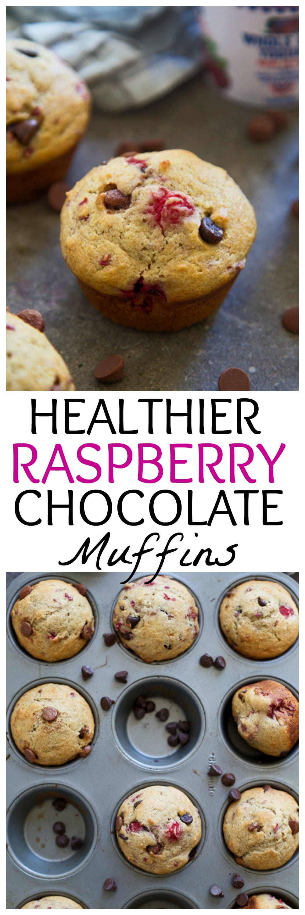 Healthier Raspberry Chocolate Muffins