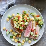 Seared Ahi Tuna with Chickpea Cucumber Salad - Cooking for