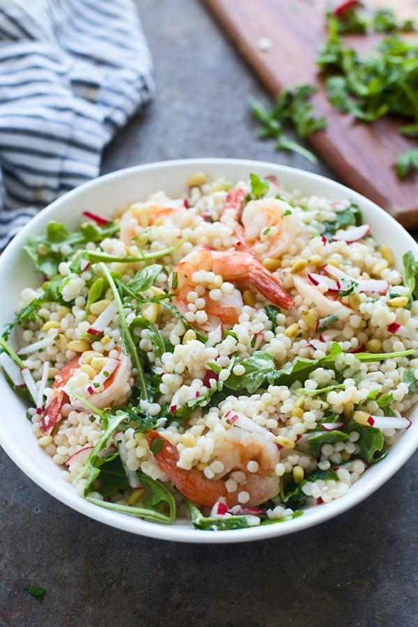 Shrimp Israeli Couscous Salad with arugula, goat cheese, pine nuts and a lemon vinaigrette
