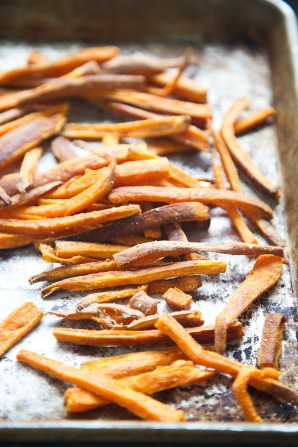 Baked sweet potato fries with garlic and salt