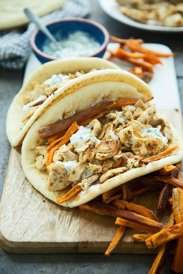 Healthy Chicken Gyros with Feta Tzaztiki and Sweet Potato Fries