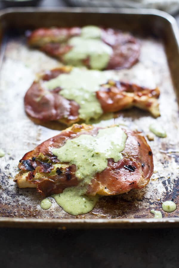 Grilled Prosciutto Chicken with Pesto Cream Sauce