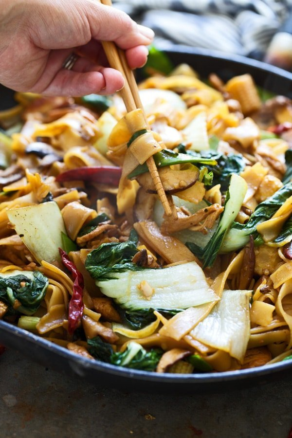 Easy Drunken Noodles with mushrooms, boy choy, thai basil, baby corn and chicken