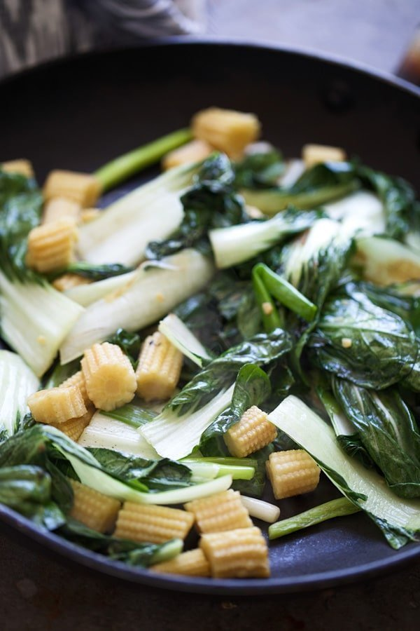 Sautéed bok choy, baby corn and garlic