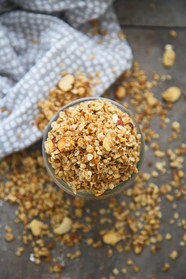 Stove top granola in mason jar