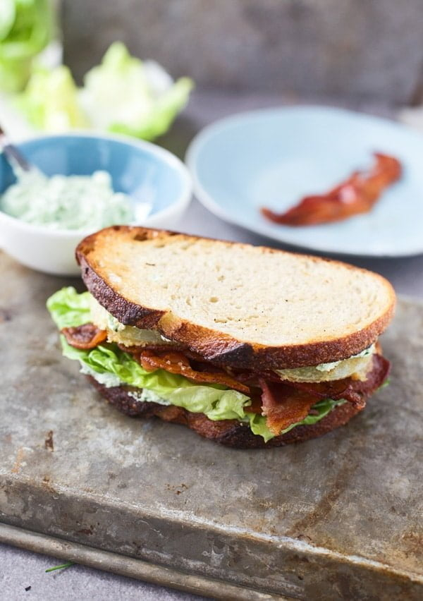 An update on a classic BLT with fried green tomatoes, bacon and herbed goat cheese