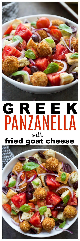 Greek Panzanella Salad with Fried Goat Cheese Balls