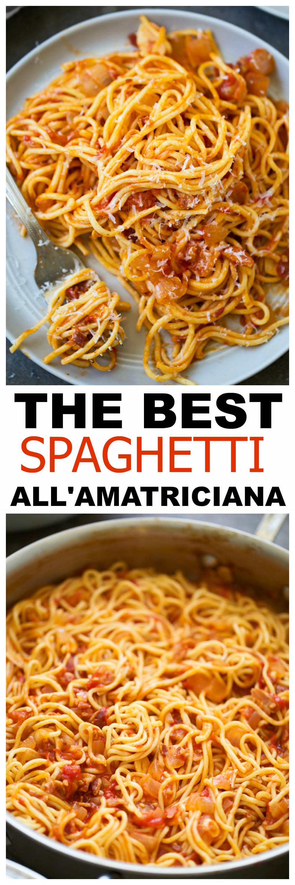The Best Spaghetti All'Amatriciana made with fresh tomatoes and homemade spaghetti.
