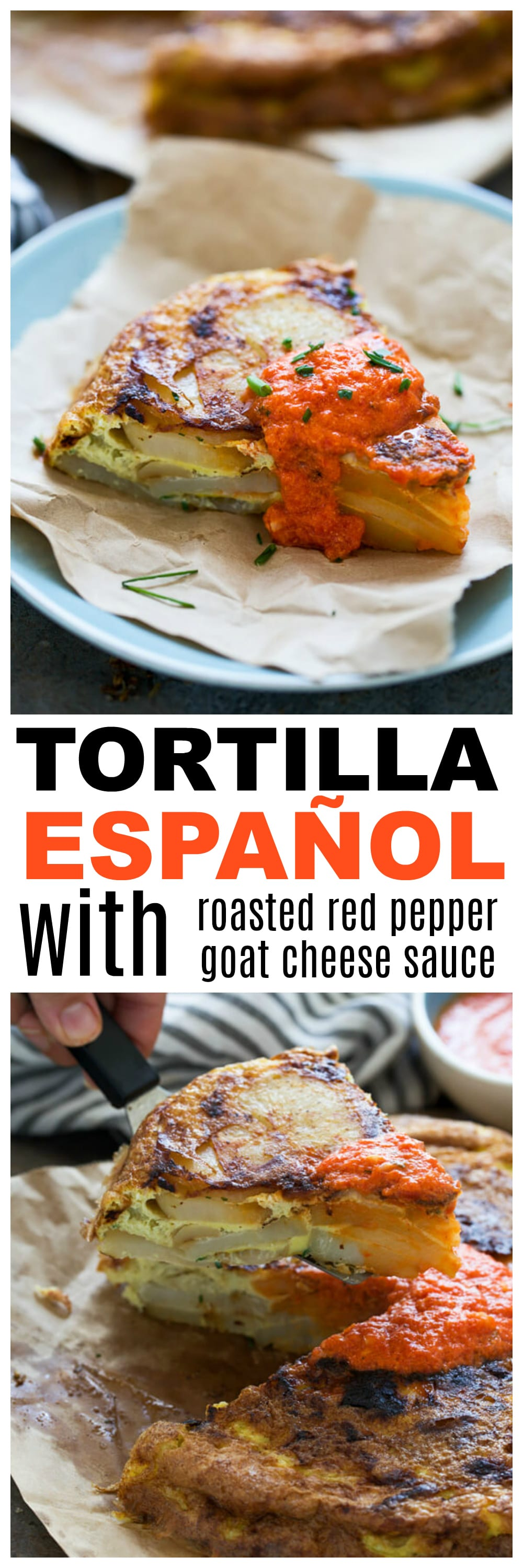 Tortilla Española with Roasted Red Pepper Goat Cheese Sauce