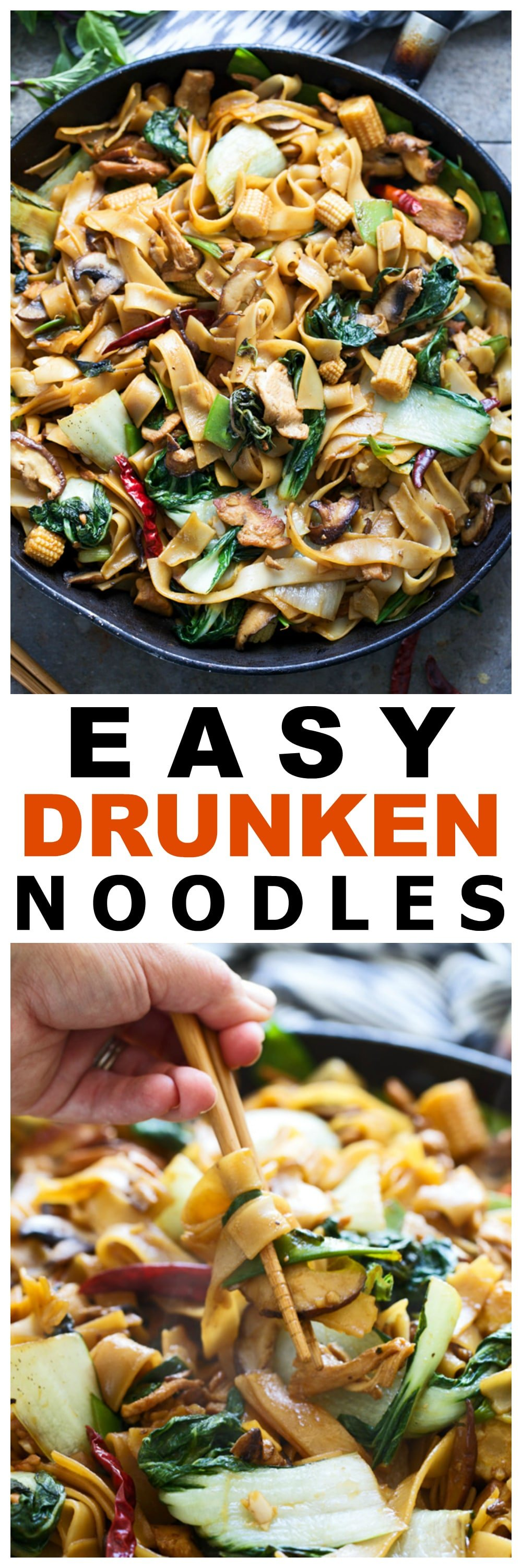 Easy Drunken Noodles (Pad Kee Mao) - Less than 45 minutes to authentic Thai noodles!