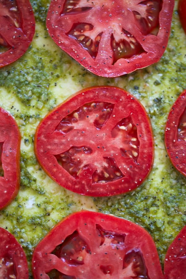 Homegrown tomatoes with pesto