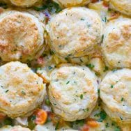 Cheesy Chicken Pot Pie with Cheddar Chive Biscuits