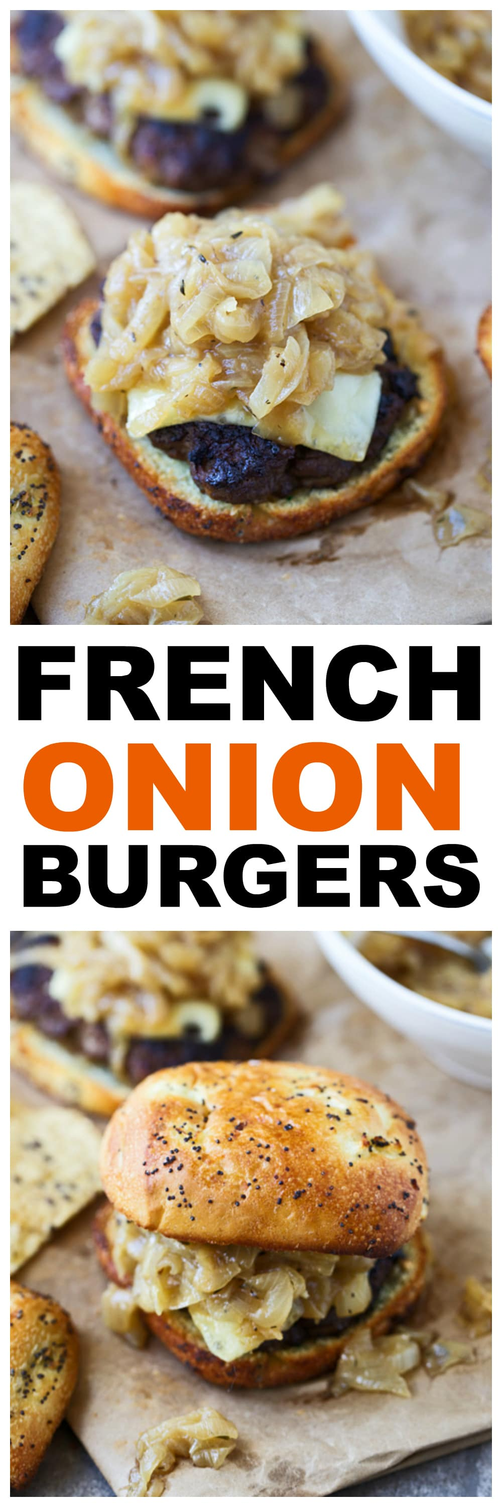 French Onion Cheeseburgers -- All of the flavors of French onion soup in burger form!