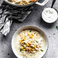 Creamy Corn & Sweet Potato Chicken Chili