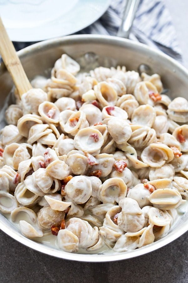 Creamy Four Ingredient Gorgonzola Orecchiette
