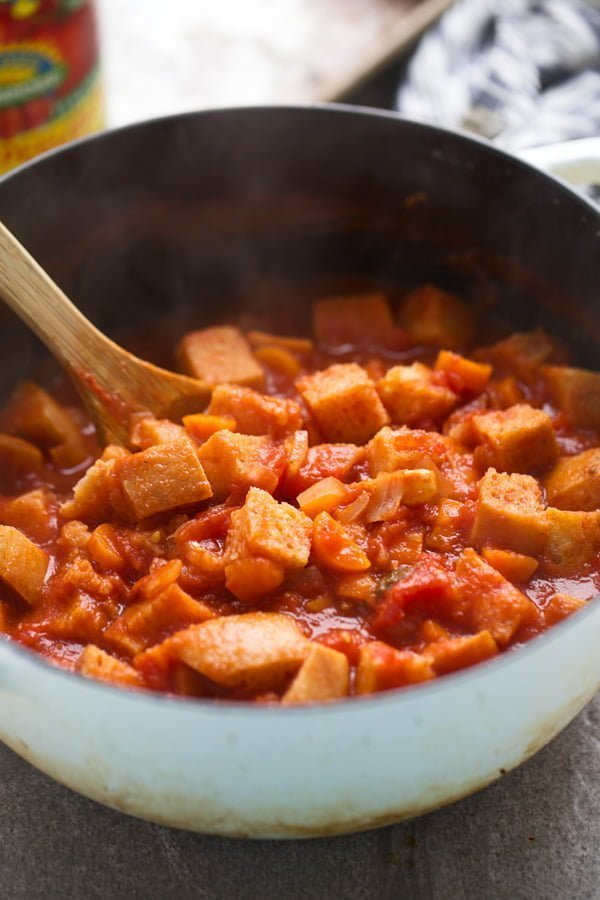 Add dried bread to tomato soup mixture
