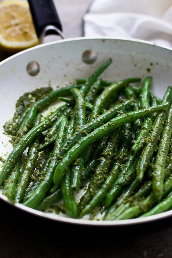 20 Non-Traditional Thanksgiving Sides: Brown Butter Green Beans with Pesto