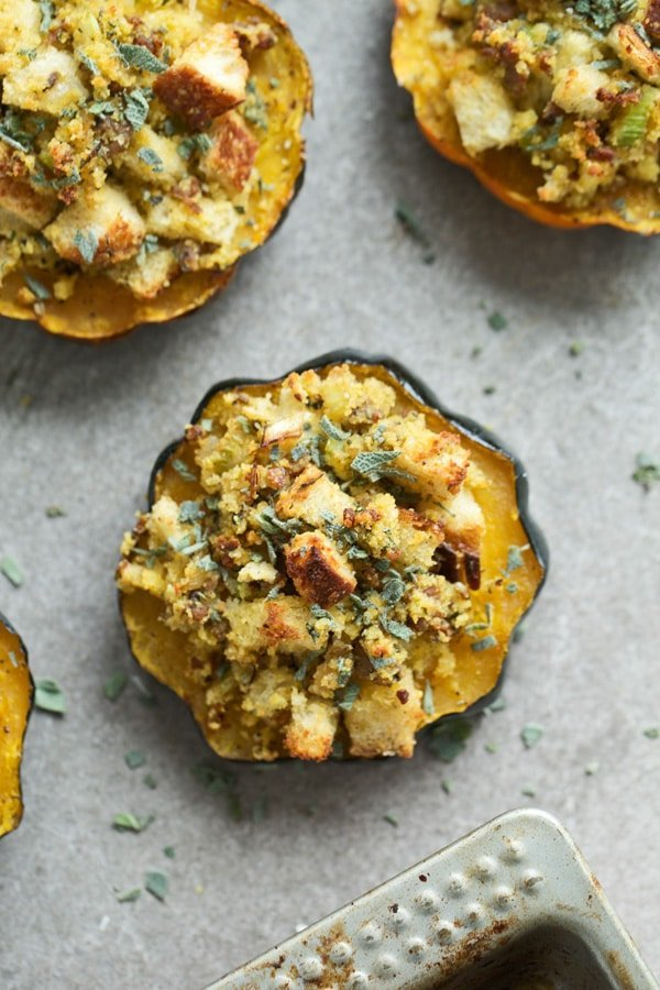 Cornbread Dressing Stuffed Acorn Squash - Cooking for Keeps