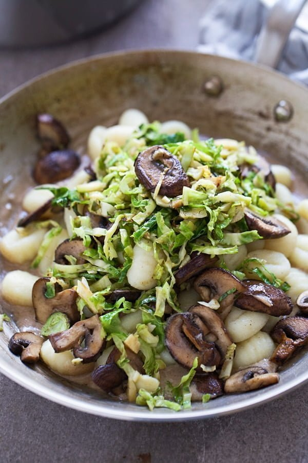 Brown Butter Mushrooms and Brussels Sprouts