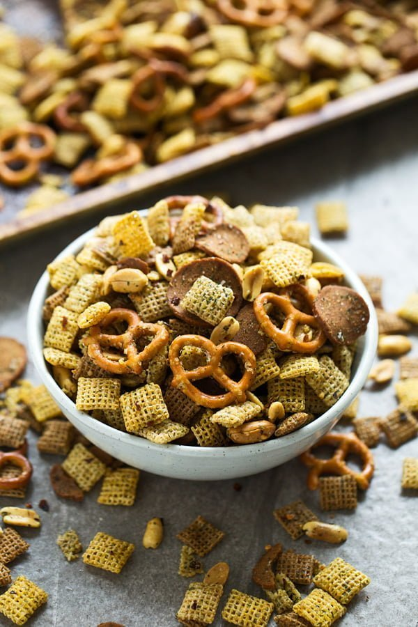 Firecracker Chex Mix - Crispy, SPICY totally addictive chex mix made with ranch seasoning and tons of red pepper flakes!