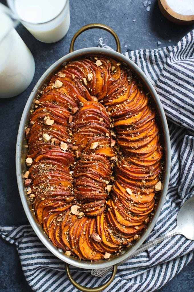 Maple Harissa Sweet Potato Gratin