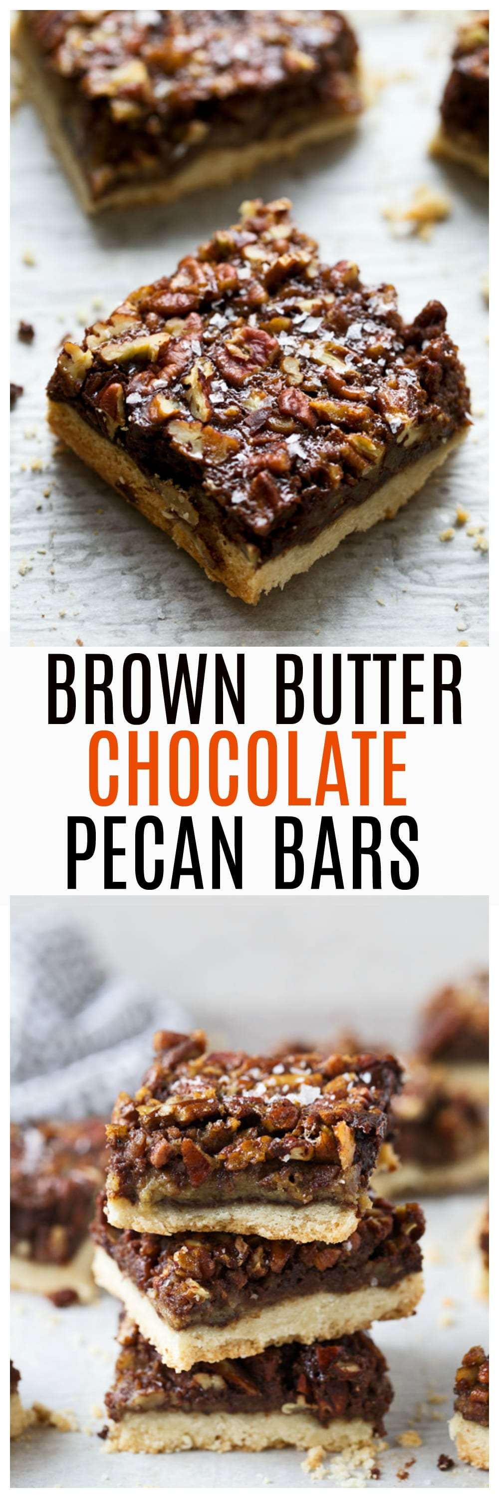 Brown Butter Chocolate Pecan Bars - Layers of salted shortbread, rich chocolate ganache and bourbon brown butter pecan filling.