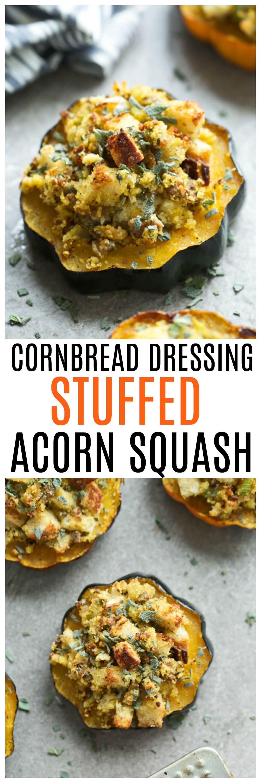 Cornbread Dressing Stuffed Acorn Squash