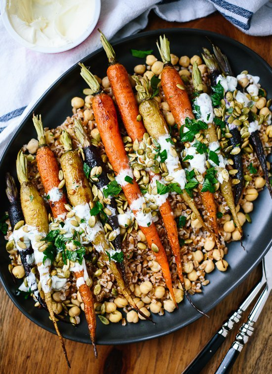 Roasted Carrots with Farro and Chickpeas