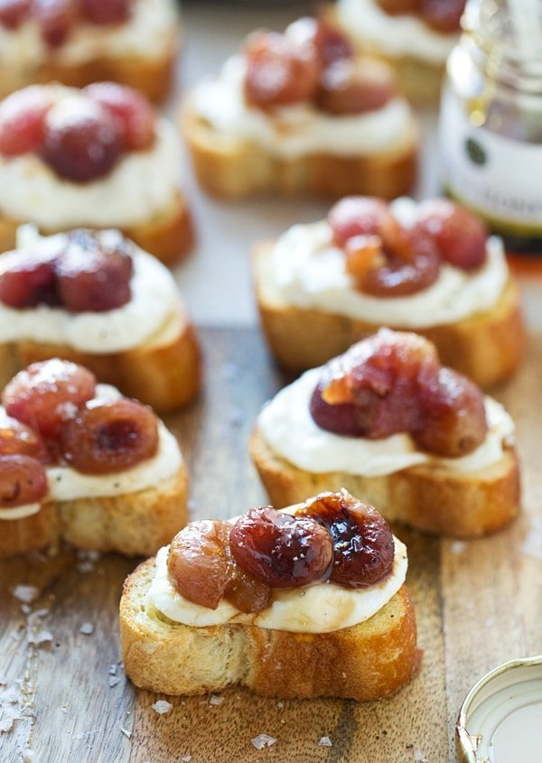 Roasted Grape, Whipped Ricotta and Truffle Honey Crostini