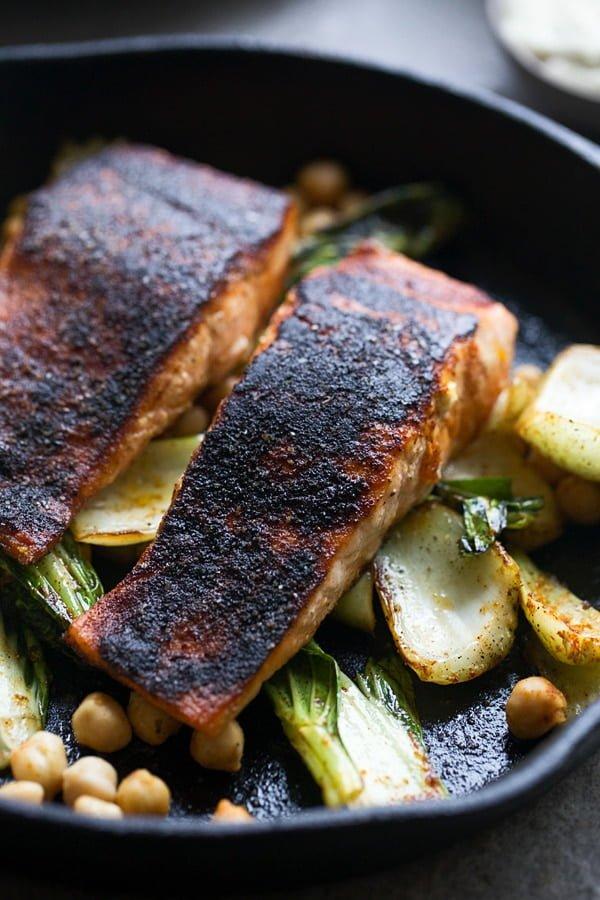 Blackened Salmon with Tahini Sauce