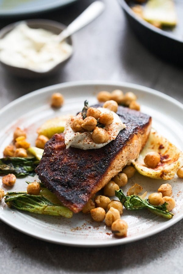 Blackened Salmon with Tahini Sauce