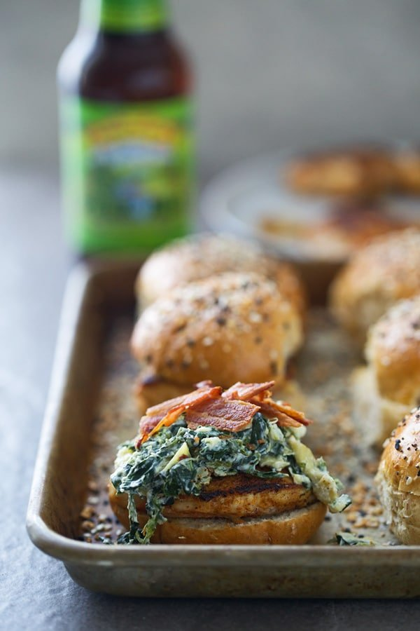 Blackened Spinach Artichoke Chicken Sliders